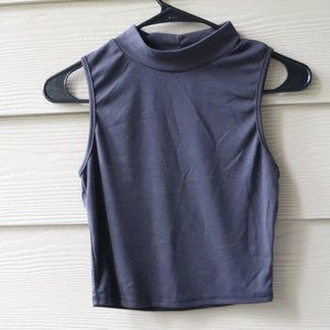 Cowl/Turtleneck Crop Top Grey/Back Shirt